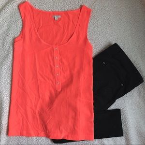 GAP Neon Coral Button Front Sleeveless Blouse